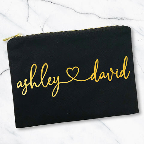 Cursive Heart Custom Names Gold Foil Makeup Bag