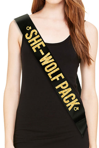 SHE-WOLF PACK Bachelorette Party Sash - Gold Glitter Print
