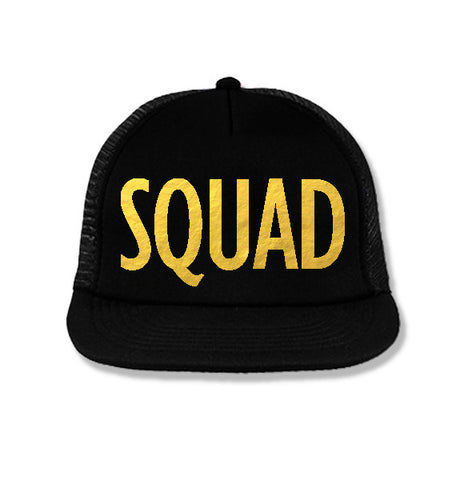 SQUAD Bridesmaid Snapback Trucker Hat Black with Gold Print