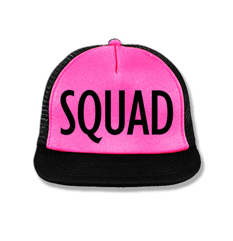 SQUAD Snapback Trucker Hat Pink with Black Print