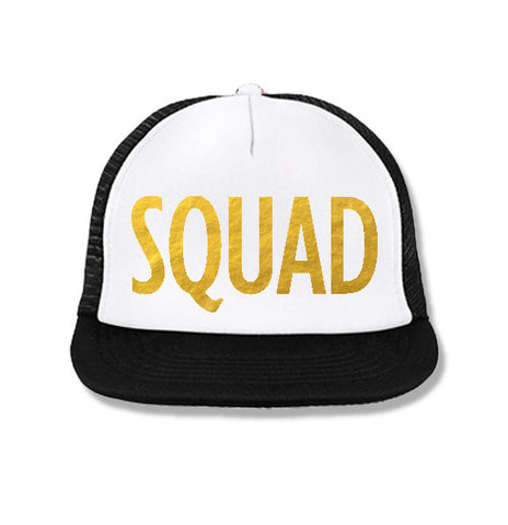 SQUAD Bridesmaid Snapback Trucker Hat White with Gold Print
