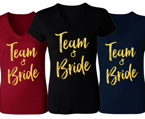 Team Bride Script V-Neck with Gold Glitter - Pick Color