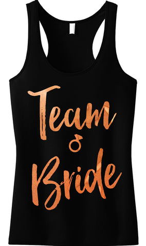 Team Bride Rose Gold Foil Tank Top, Black