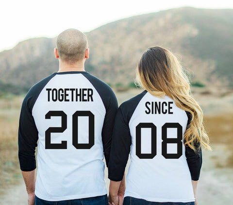 TOGETHER SINCE Custom Date Baseball Tees Set - Black