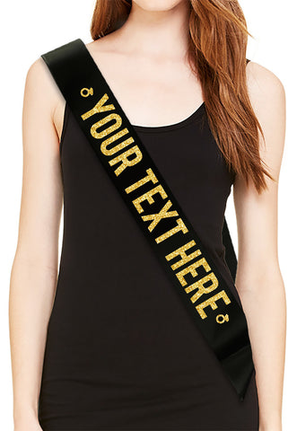 """YOUR TEXT HERE"" Black Bachelorette Party Sash - Gold Glitter Print"
