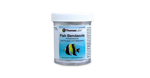 Thomas Labs, Fish Bendazole Powder, Anti-Parasitic Fish Medication, 3 Packets (250mg each)