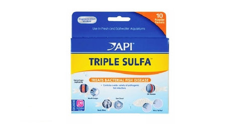 API TRIPLE SULFA™ POWDER, Bacterial Fish Disease Treatment, 10 Powder Packets