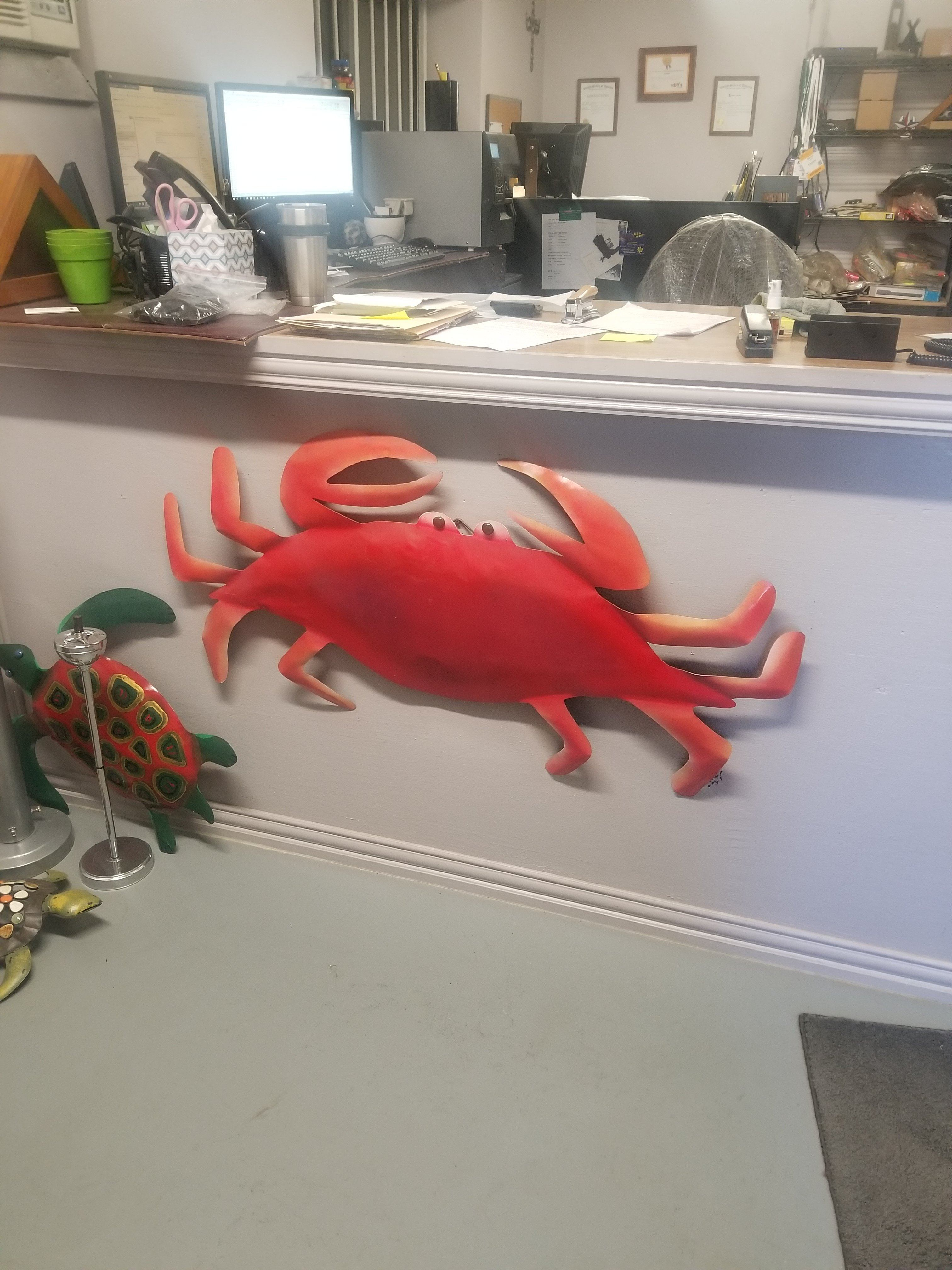 "Blank Steel 48"" Crab for Painters nautical art canvas wall All-Purpose Craft Supplies Carvers Olde Iron"