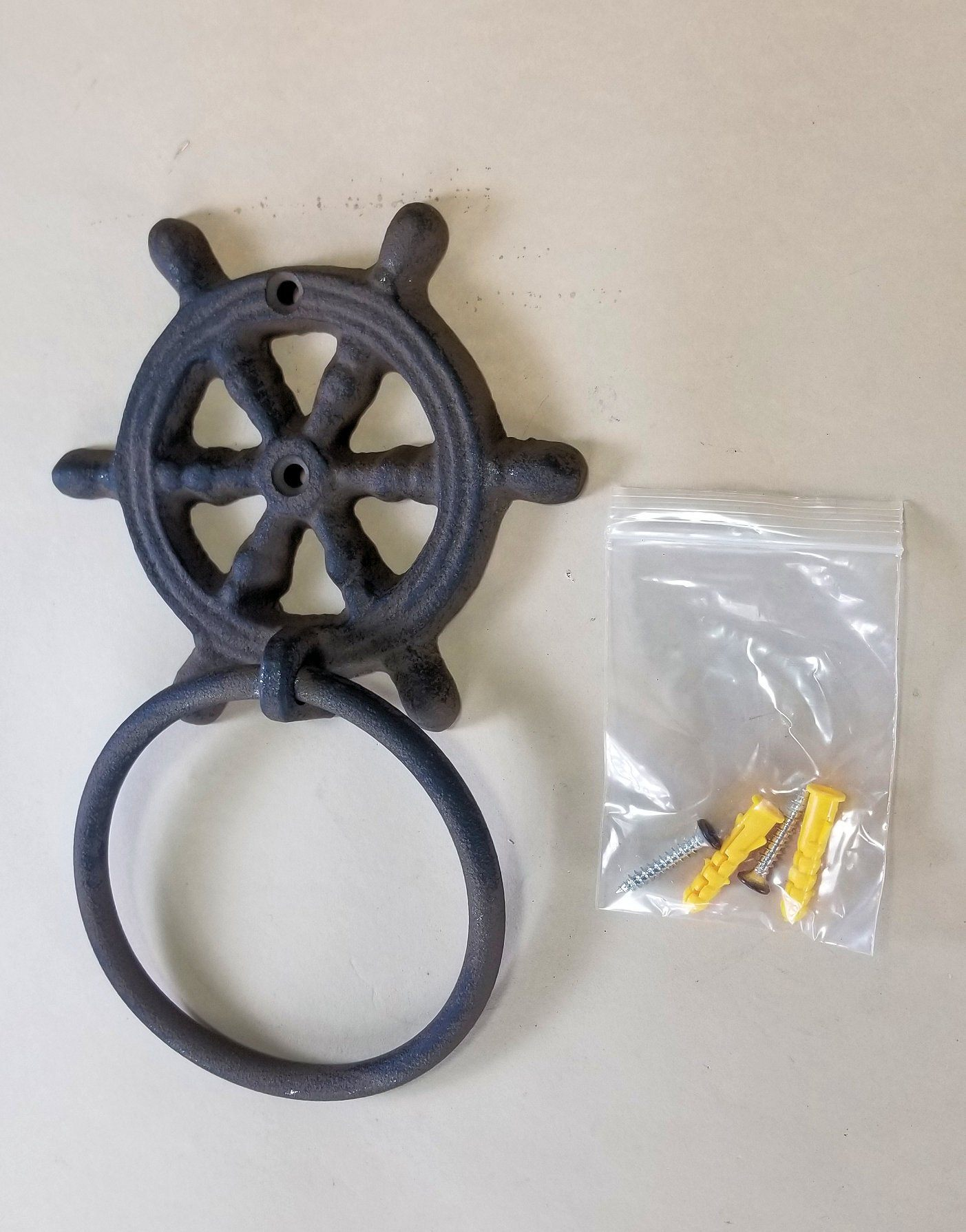 "Cast Iron Ships Wheel Helm Towel Ring 4"" with hardware bath accessories Carvers Olde Iron"
