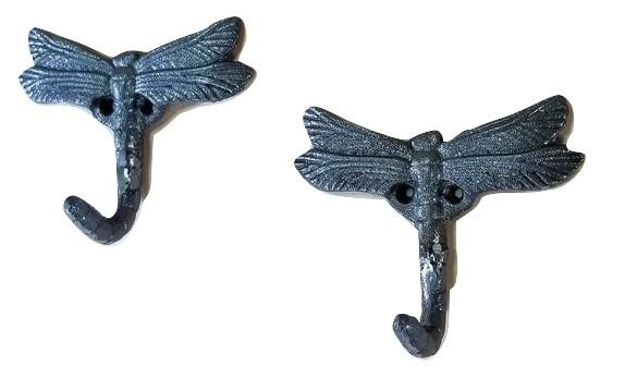 2 Dragonfly Wall Hooks Cast iron for Kitchen, Bath, or outdoors. Other Kitchen & Dining Items Carvers Olde Iron