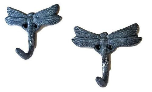 2 Dragonfly Wall Hooks Cast iron for Kitchen, Bath, or outdoors.