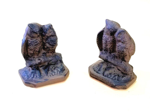 2 pc Cast Iron Owls Bookends Old Vintage Look Bookends Carvers Olde Iron