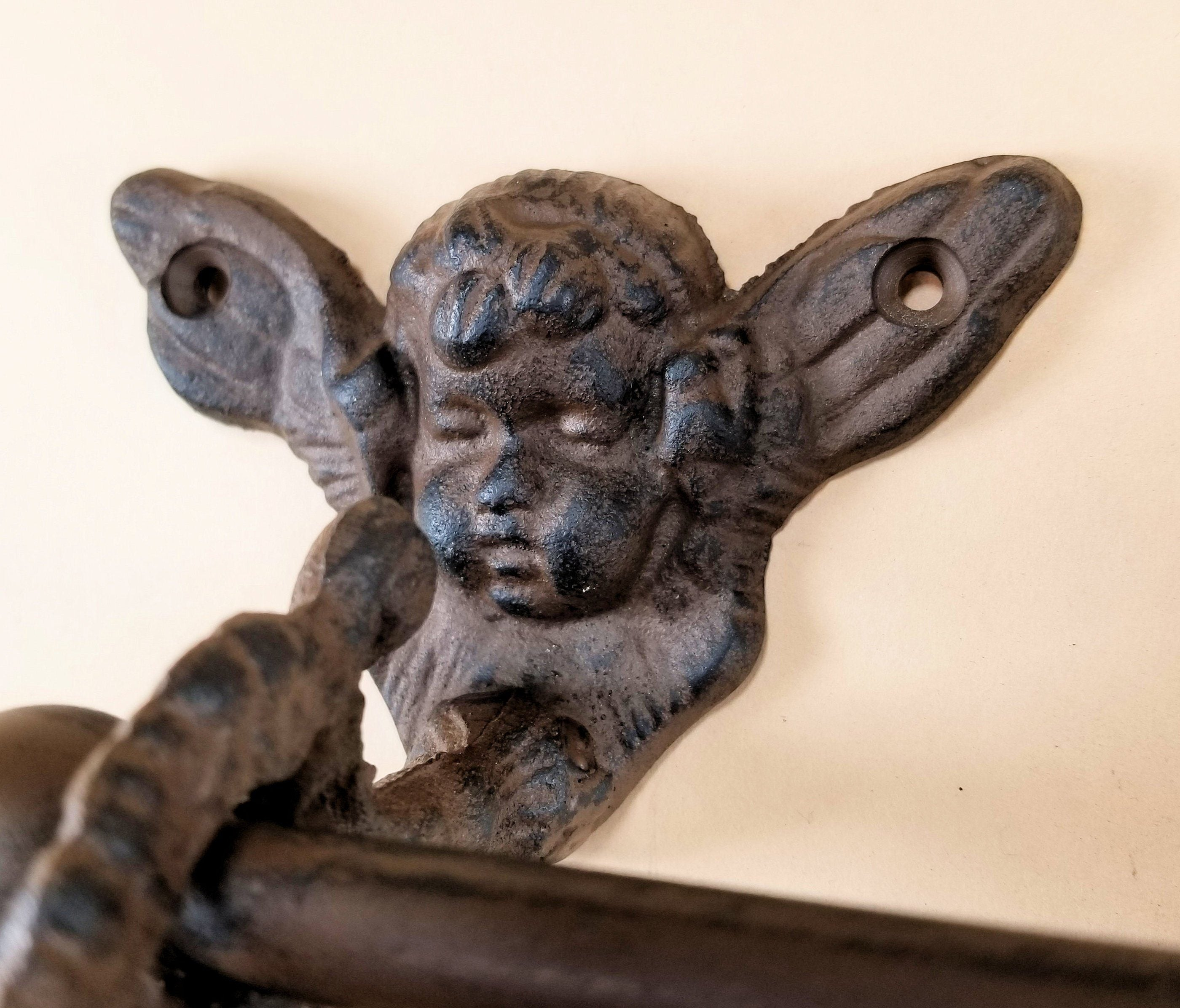 Cast Iron Cherubs Toilet Paper Holder, Rustic Brown bath accessories Carvers Olde Iron