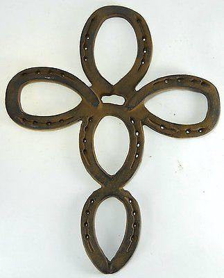 "Large 16 1/2"" Cast Iron Horseshoe Cross wall hanging cowboy southwestern decor"