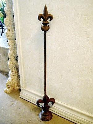 "Doorstop French Fleur De Lis Adjustable 26"" Rustic Home Decor Cast Iron"