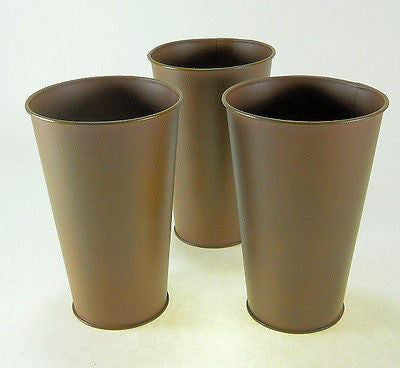 "9"" T Rust Flower Pots Metal Buckets Pails"