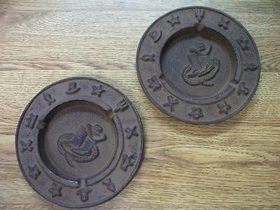 2pc Cast Iron Ashtrays Western Southwestern