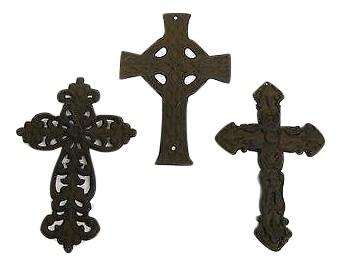3 Cast Iron Cross Set rustic country home church decor Crucifixes & Crosses Carvers Olde Iron