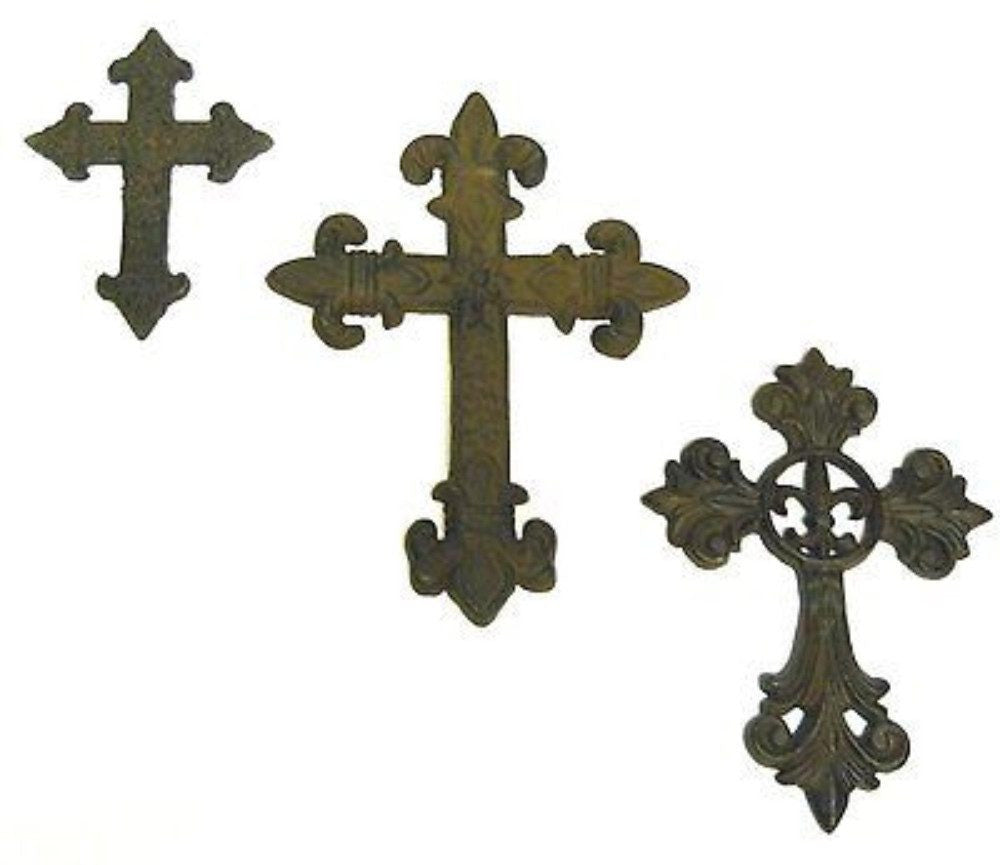 Cast iron Crosses 3pc wall gothic medieval crosset1 Crucifixes & Crosses Carvers Olde Iron