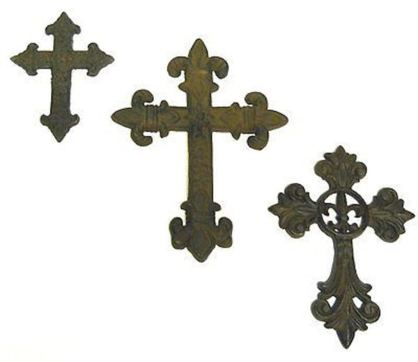 #crosset1 Cast iron Crosses 3pc wall gothic hanging medieval collection