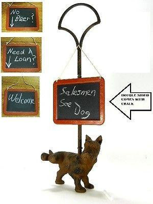"21 1/2"" Tall Cast Iron ""Peeing"" Scottie Dog Doorstop with Handle & Chalkboard"