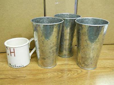 "3 Galvanized Buckets 7"" French Style Wedding Flower Plant Country Garden Herb"