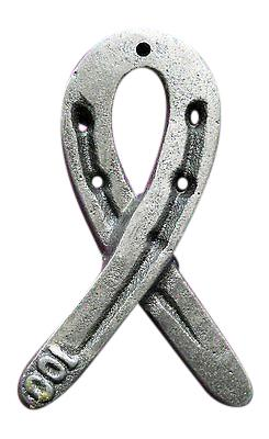 Cancer Ribbon Horseshoe Castiron survivor paperweight