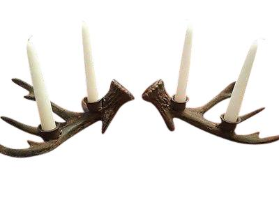 Set of Cast Iron Deer Antler Taper Candle Holders Hunting Lodge Holiday Decor Candle Holders & Accessories Carvers Olde Iron