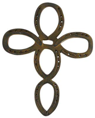 "Large 16 1/2"" Cast Iron Horseshoe Cross wall hanging Crucifixes & Crosses Carvers Olde Iron"