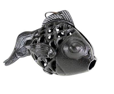Black Koi Cast Iron Fish Candle Holder Goldfish Lamp Candle Holders & Accessories Carvers Olde Iron