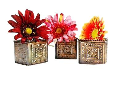 "3 Pc Square Bronze Planters 2 1/2"" square"