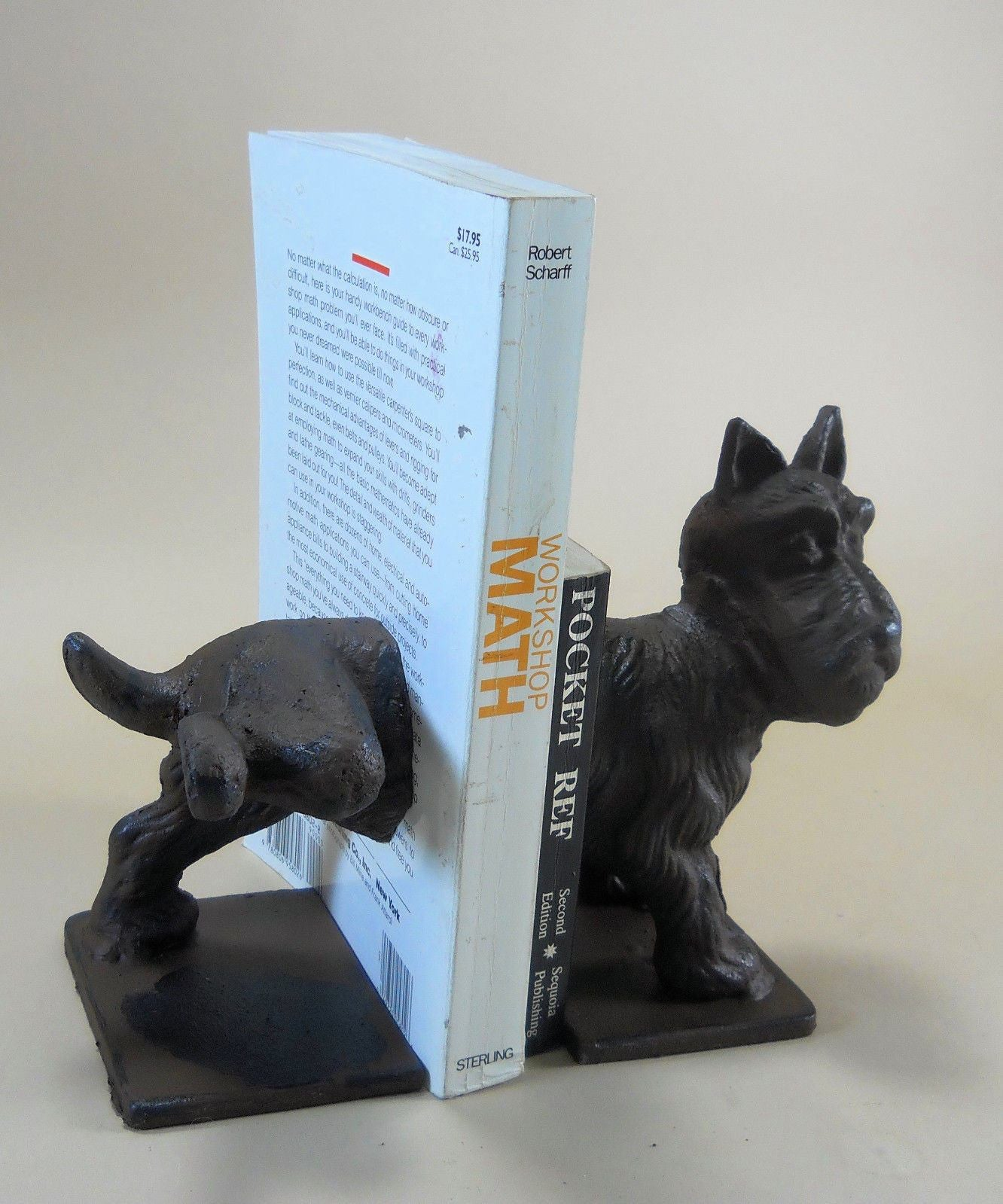 Scottish Terrier Dog Bookends Cast Iron Naughty Pee On It Puppy Library Doorstop Book Ends Carvers Old Iron