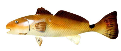 "28"" Steel Redfish Red Drum hand painted hanging LEFT Nautical Décor Carvers Olde Iron"