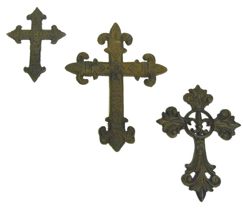 Cast iron Crosses 3pc wall gothic medieval crosset1