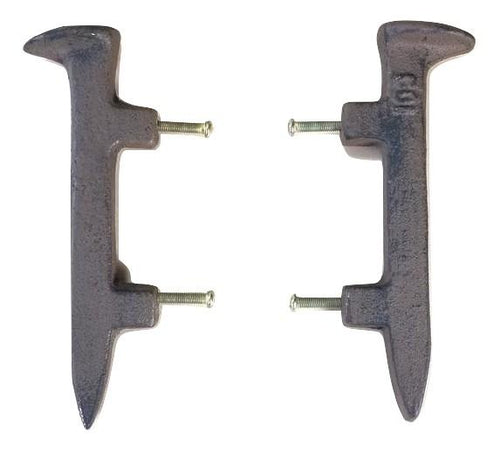 2pc Cast Iron Railroad Spike Drawer Pulls Door handles Cast Iron Carvers Olde Iron