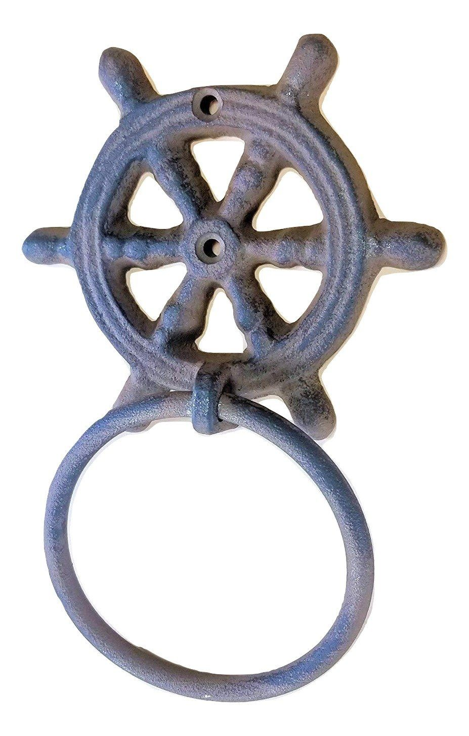 "Cast Iron Ships Wheel Helm Towel Ring 4"" with hardware"