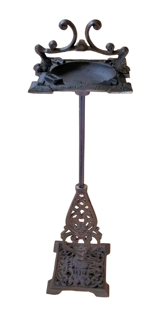 Heavy Cast Iron Art Deco Ashtray Stand w/handle rustic brown Ashtrays Carvers Olde Iron