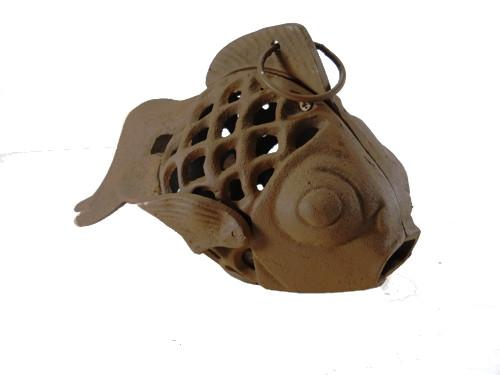 Brown Cast Iron Fish Candle Holder Goldfish Koi Lamp Lantern