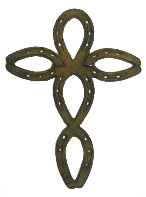 Medium Cast Iron Horseshoe Wall Cross Western Southwestern Decor Gift Christian