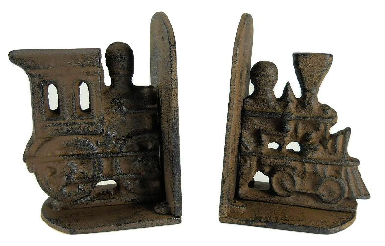 Cast Iron Train Bookends Primitive Heavy Bookends Carvers Olde Iron