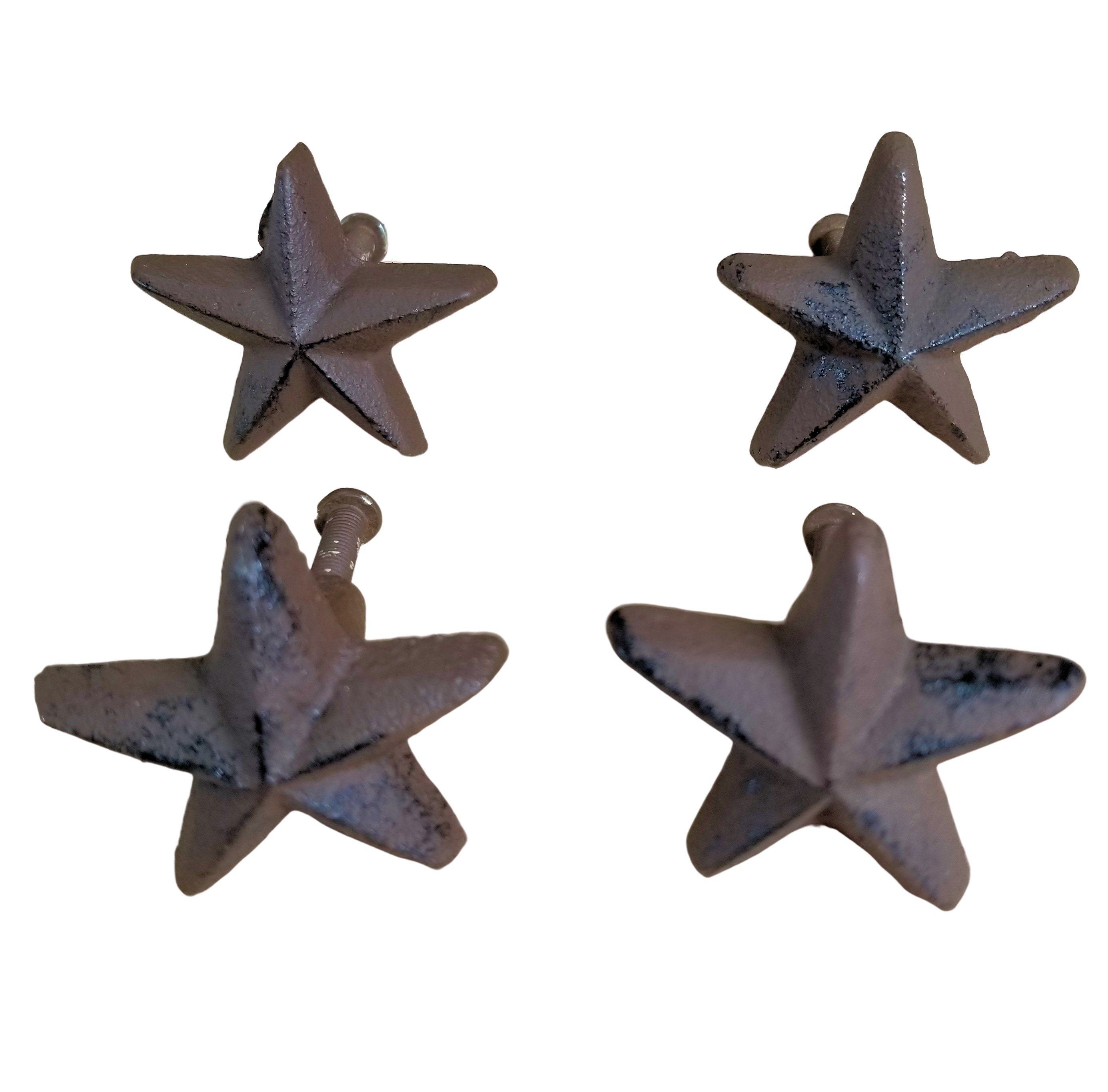 4 pc Cast Iron Star Knobs w/ screws cabinet pulls drawer handles rustic brown knobs Carvers Olde Iron
