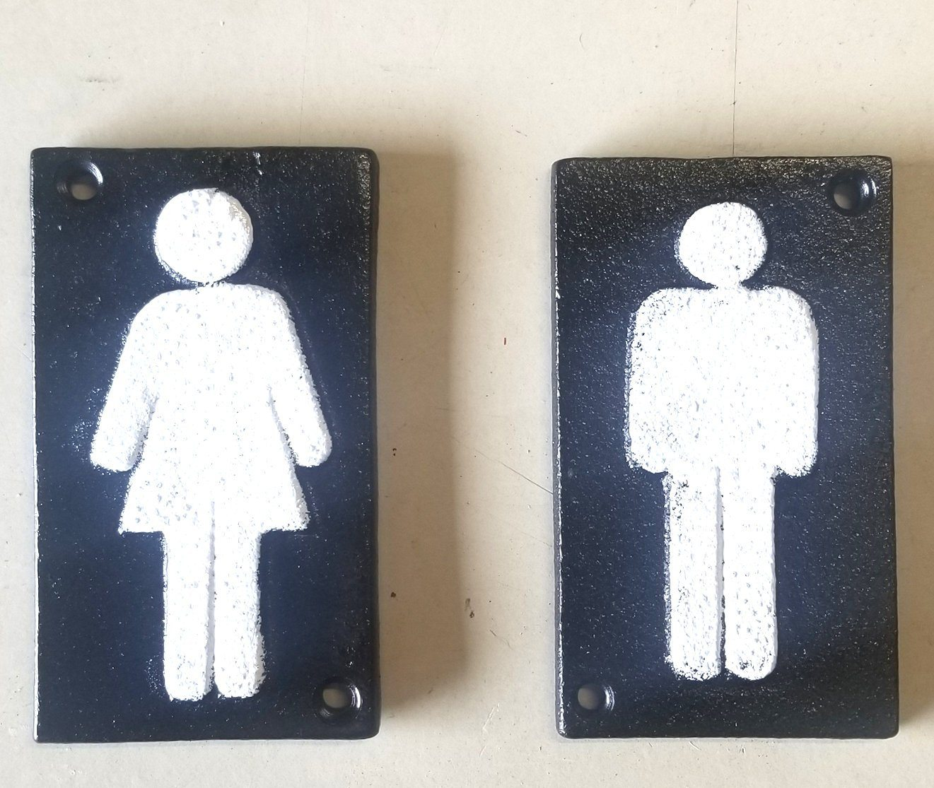 "2pc Cast Iron Bathroom Restroom Signs 4"" x 2 1/2"" Signs & Plaques Carvers Olde Iron"