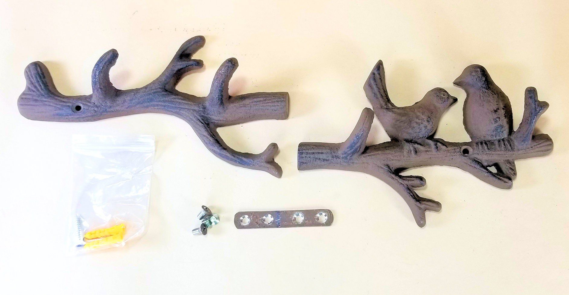 Tree Branch Coat Hat Rack Cast Iron Birds!