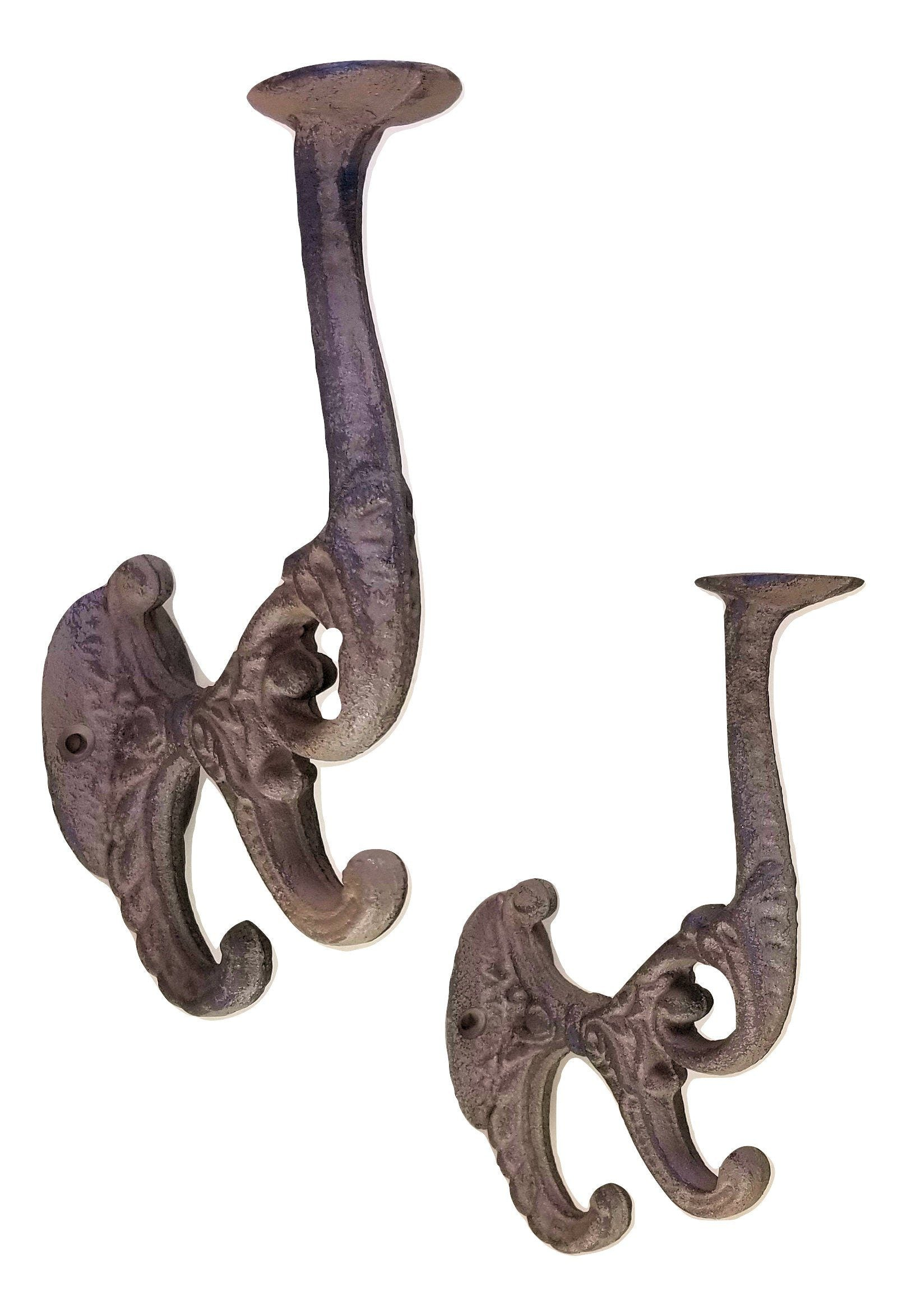 2 Cast Iron Double Hooks wall mount vintage style Wall Hooks & Hangers Carvers Olde Iron