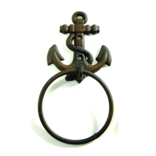 "Anchor Towel Ring 4"" Cast Iron Nautical Decor Vintage beach lake surf"