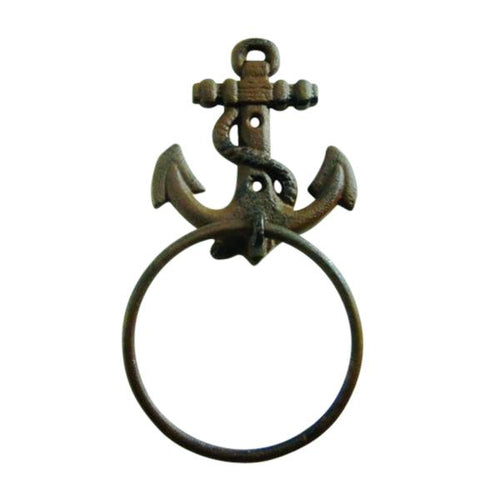 "Anchor Towel Ring 4"" Cast Iron Nautical Decor"
