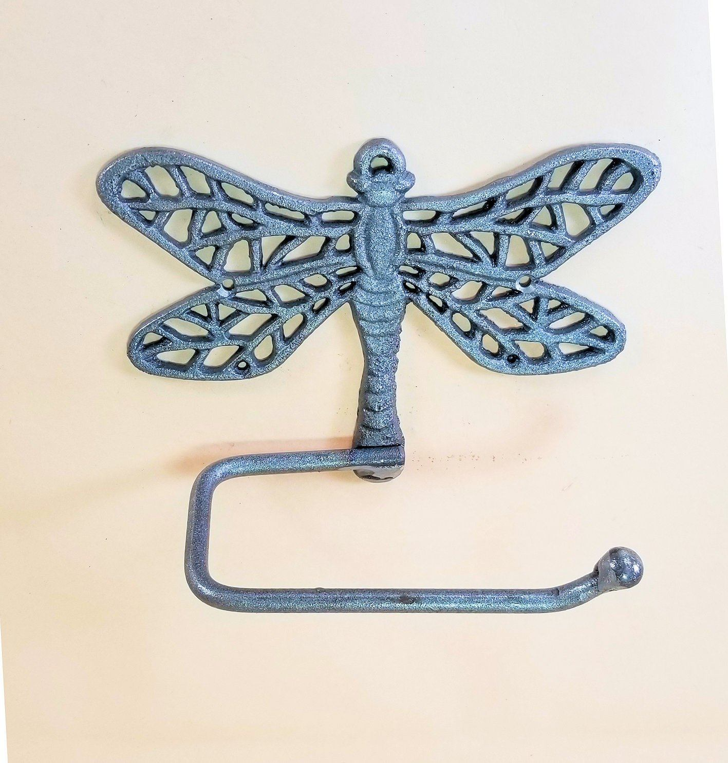 cast iron unpainted Dragonfly toilet paper holder carvers olde iron