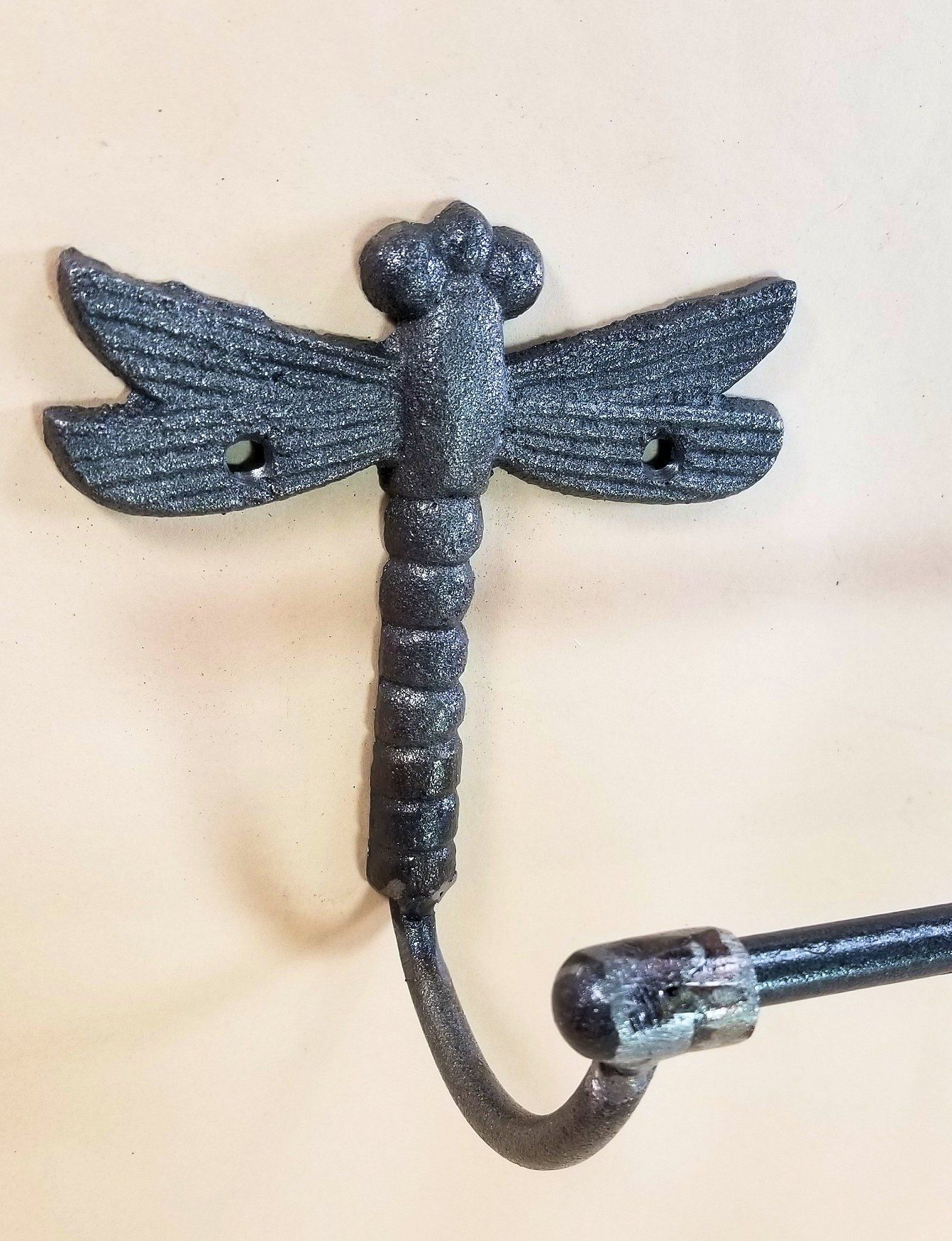 "Cast Iron Dragonfly Towel Bar 24"" for Bath or Kitchen bath accessories Carvers Olde Iron"