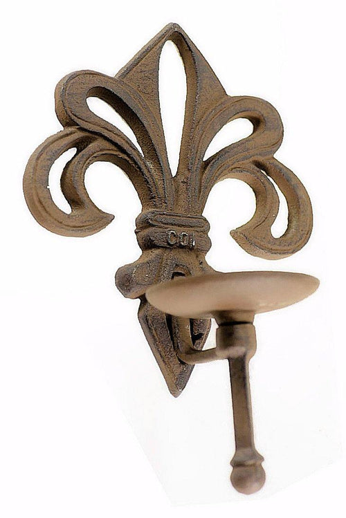 Fluer de Lys Cast Iron Candle Sconce Candles, Holders Carvers Olde Iron