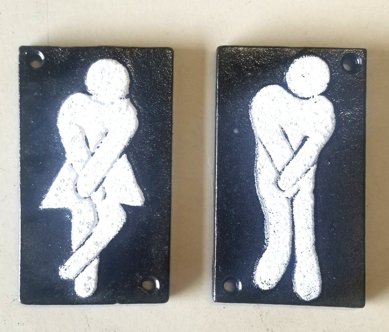 2pc Funny Cast Iron Bathroom Plaques Signs primitive bath accessories Carvers Olde Iron